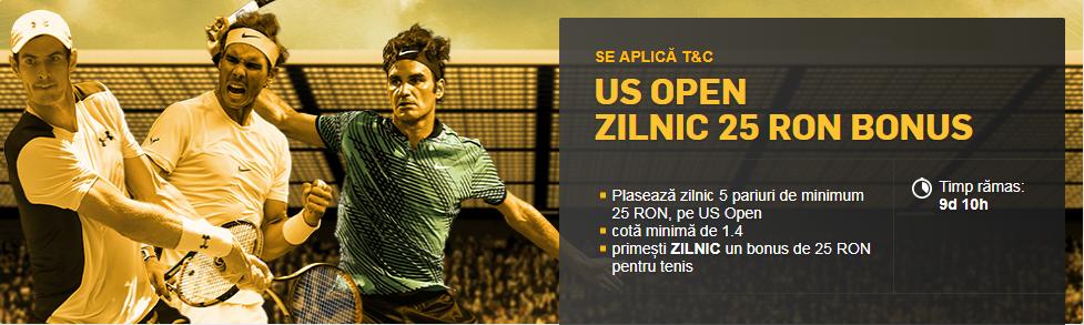 Primesti zilnic un bonus de 25 RON daca pariezi pe US Open