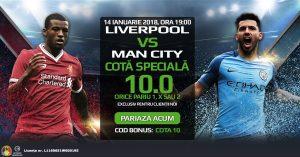 Cota 10.0 pe orice pariu plasat pe 1, X sau 2 la Liverpool vs Man. City!