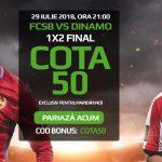 Pariaza pe 1, X sau 2 la FCSB vs Dinamo si castiga de 50X miza investita