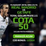 "Ai de 50X miza pariata pe ""over 2.5 goluri"" marcate in Real Madrid vs Getafe"