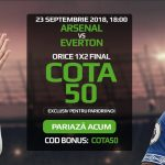 Incaseaza de 50X miza pariata pe 1, X sau 2 la Arsenal vs Everton