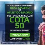 "Ai de 50X miza pariata pe ""over/under 2.5 goluri"" marcate in Real Madrid vs Atletico"