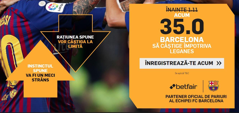 Cota 35.0 pentru victorie Barcelona in meciul de duminica din La Liga